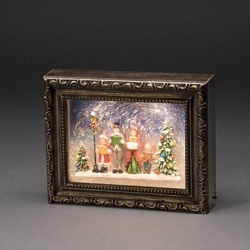 Konstsmide kader met kerstkoraal brons 2 LED warm wit 24.5x5.5x19.5cm