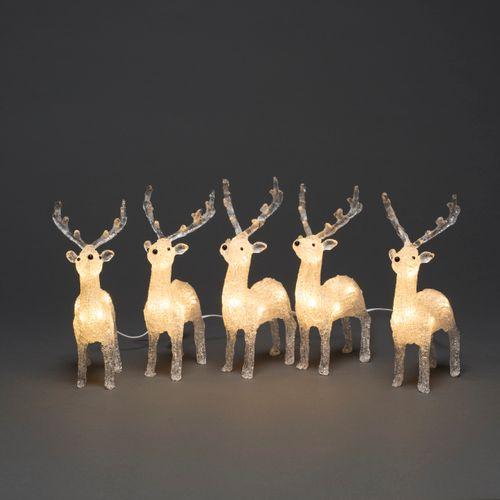 Konstsmide set van 5 rendieren acryl 40 LED warm wit