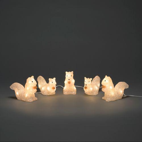 Konstsmide set van 5 eekhoorns acryl 40 LED warm wit 12x13.5cm