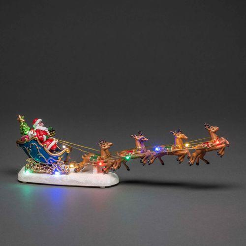 Konstsmide decoratie kerstman op slee 10 veelkleurige LED 35,5x6,5x14cm