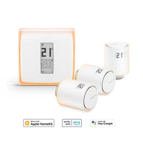 Netatmo slimme thermostaatkit + 3 extra thermostaatkoppen