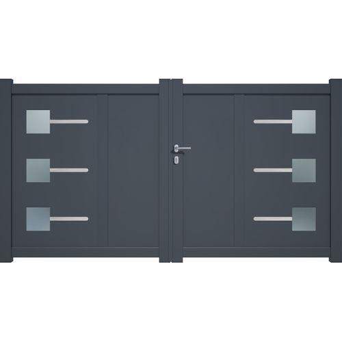 Portail double battant Gardengate Soria aluminium gris anthracite 3x1,6m