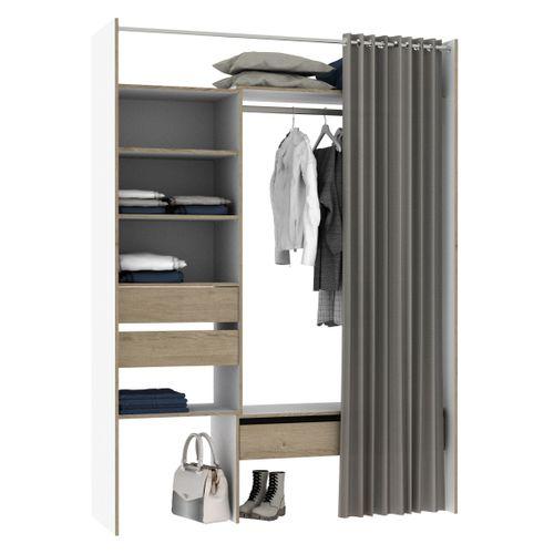 Dressing extensible Oslo blanc/chene avec rideau 3 tiroirs 6 étagères