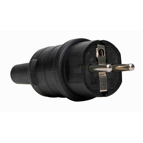 Kopp stekker geaard slagvast IP44 rubber zwart