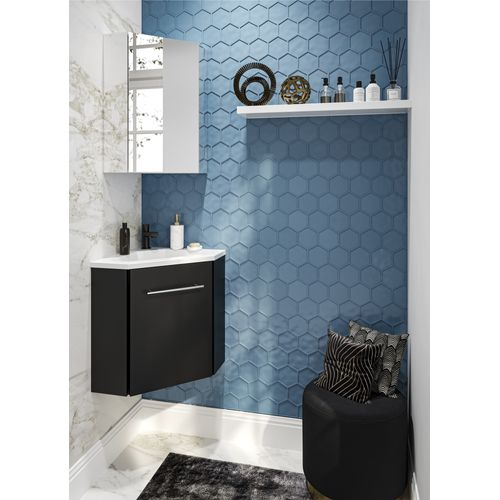 Meuble lave-mains Allibert Corner 58cm noir mat