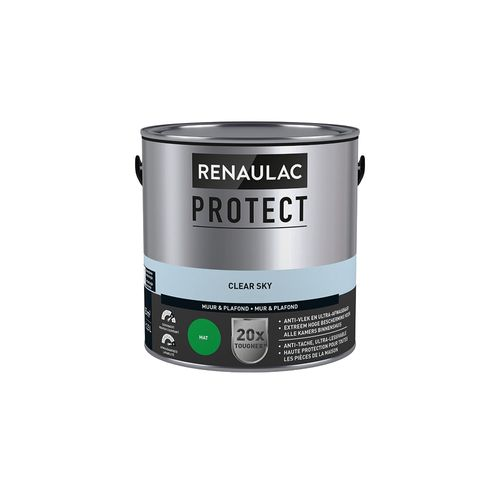 Peinture mur et plafond Renaulac Protect ultra couvrante clear sky mat 2,5L
