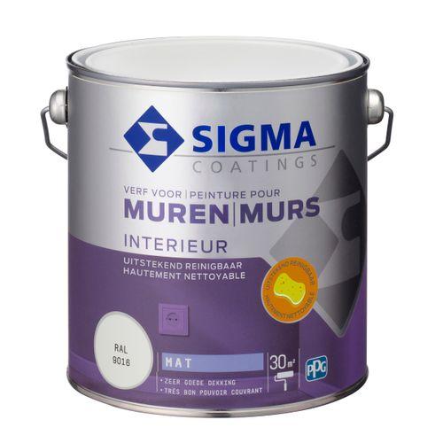 Sigma muurverf reinigbaar mat RAL 9016 2,5L