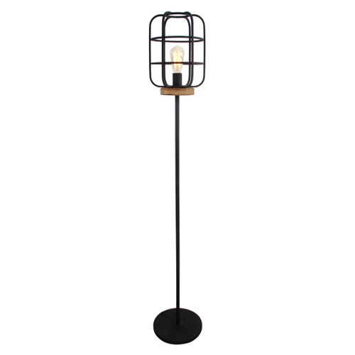 Brilliant vloerlamp Gwen zwart hout E27