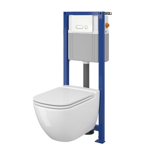 Réservoir encastré + cuvette sans rebord + lunette de WC Aquazuro