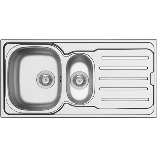GO by Van Marcke - Callisto - spoeltafel - 1000 x 500 mm - D92 mm - met 1,5 bakken - roestvrij staal - gepolijst - sifon dubbel plaatsbesparend - plug met overloop - plug zonder overloop - inoxclean staaltje 50ml