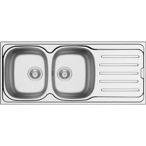 GO by Van Marcke - Callisto - spoeltafel - 1160 x 500 mm - D92 mm - met 2 bakken - roestvrij staal - gepolijst - sifon dubbel plaatsbesparend - plug met overloop - plug zonder overloop - inoxclean staaltje 50ml