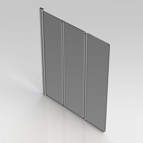Van Marcke GO - Malia - paroi de bain - 1300x1400mm - 3-volets - 5mm verre transparant sécurite réversible - profils alu anodisé - système de levage - réglable 1290x1300mm