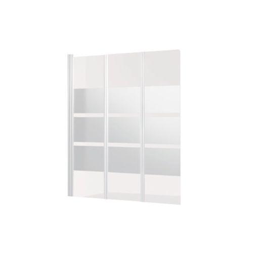 Van Marcke GO - Balos - paroi de bain - 1300x1400mm - 3-volets - 5mm verre decor sécurite réversible - profils blanc - système de levage - réglable 1290x1300mm