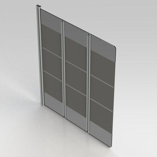 Van Marcke GO - Balos - badwand - 1300x1400mm - 3 delig - 5mm omkeerbaar decor veiligheidsglas - profielen geanodiseerd aluminium - liftsysteem - regelbaar 1290-1300mm