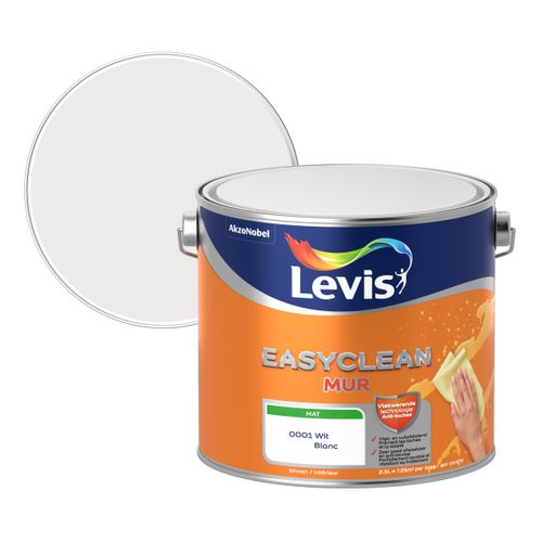 Muur- en plafondverf Easyclean wit mat 2,5L