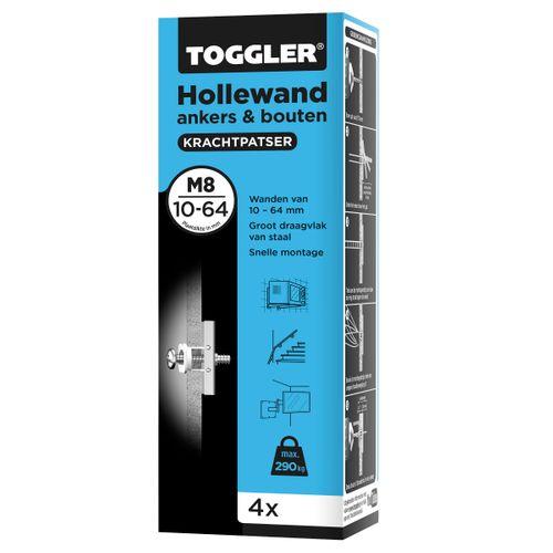 Cheville pour mur creux Toggler + boulon M8 plaque épaisseur 10-64mm 4pcs