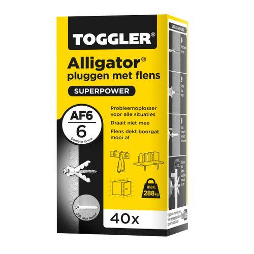 Toggler Alligator plug + flens AF6 Ø6mm wanddikte >9,5mm 40st.
