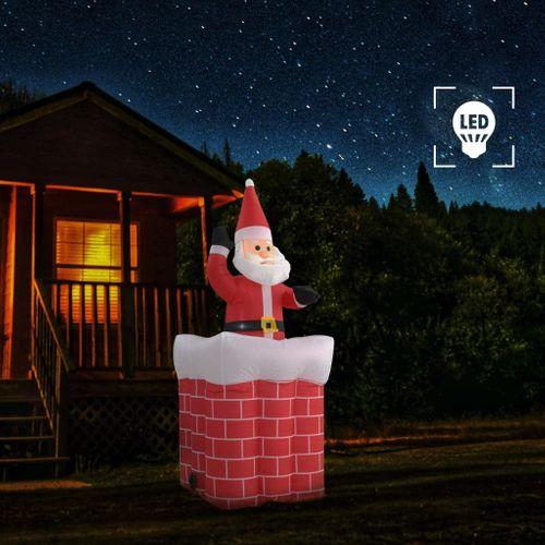 VidaXL Kerstman in schoorsteen opblaasbaar LED IP44 180 cm