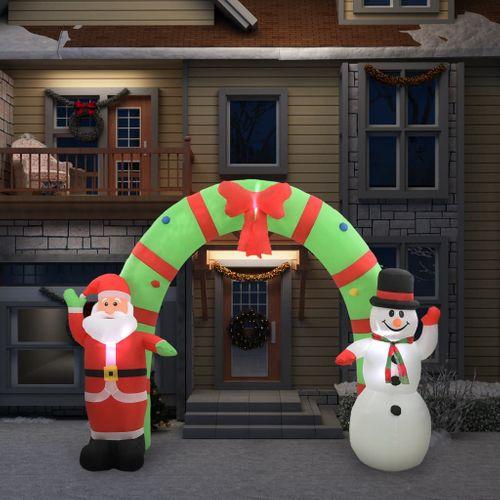 VidaXL Kerstboog kerstman en sneeuwpop opblaasbaar LED 280 cm