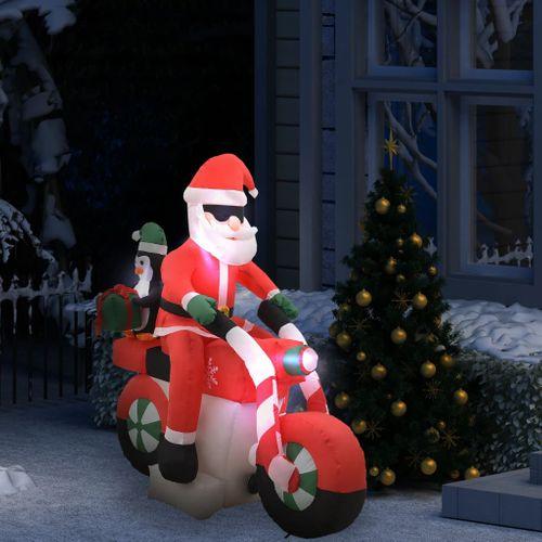 VidaXL Kerstman opblaasbaar op motorfiets LED IP44 160 cm