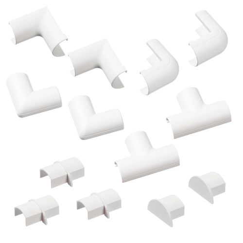 D-Line verbindingen set clip-over voor kabelgoot 20x10mm wit