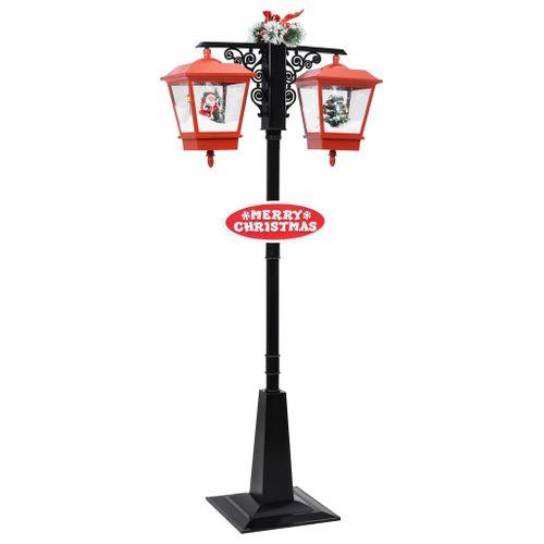 VidaXL Straatlantaarn met kerstman 81x40x188 cm PVC zwart en rood