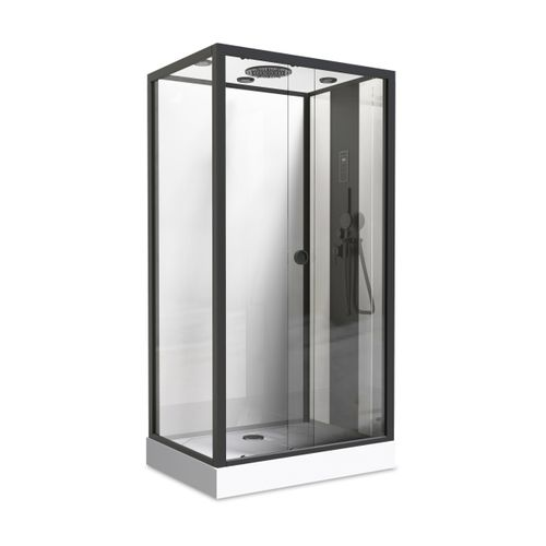 AquaVive douchecabine Hydro Nogea 120x80cm rechthoekig zwart/wit
