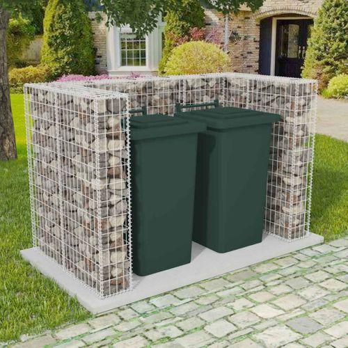 VidaXL schanskorf dubbele vuilnisbak 70,9x39,4x47,2cm zilver