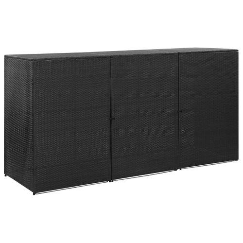 VidaXL containerberging driedubbel 229x78x120cm zwart