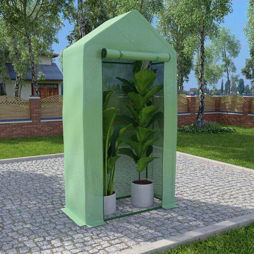 VidaXL kas met stalen frame 0,5 m² 1x0,5x1,9m groen