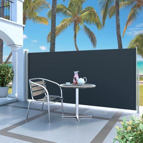 VidaXL windscherm uittrekbaar 140x300cm grijs + zwart