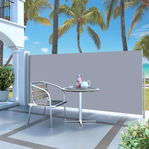 VidaXL windscherm uittrekbaar 140x300cm grijs + crème
