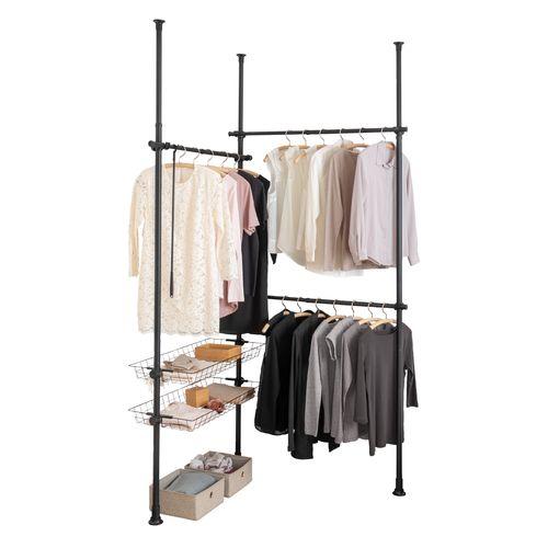 Wenko kledingrek Herkules Duo 164-215 x 165-300cm RVS zwart