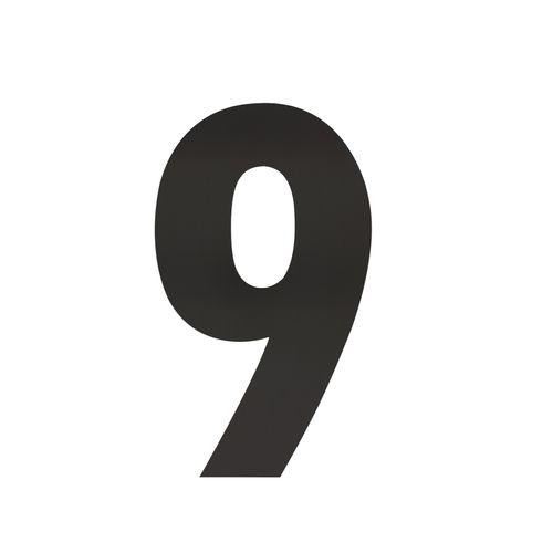 Intersteel huisnummer 9 XL hoogte 30cm rvs mat zwart