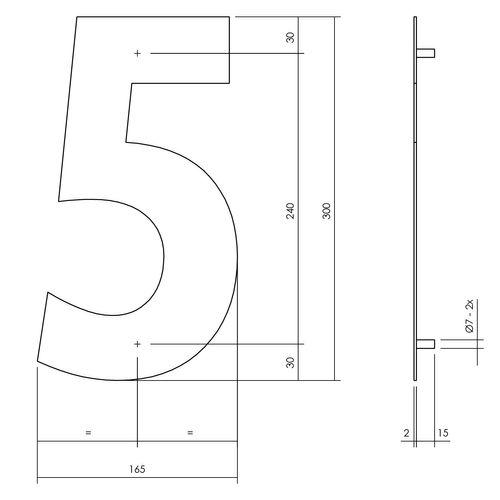 Intersteel huisnummer 5 XL hoogte 30cm rvs mat zwart