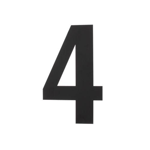 Intersteel huisnummer 4 XL hoogte 30cm rvs mat zwart
