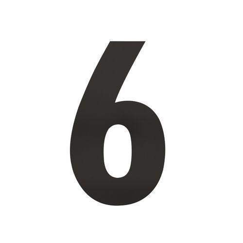 Intersteel huisnummer 6 XL hoogte 30cm rvs mat zwart