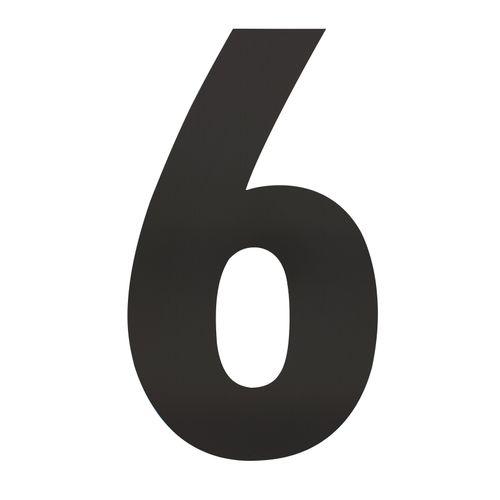 Intersteel huisnummer 6 XXL hoogte 50cm rvs mat zwart