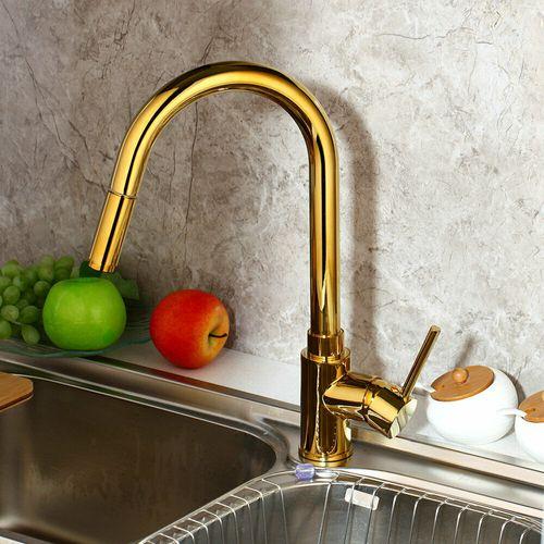 Malvizza keukenkraan met uittrekbare handdouche goud