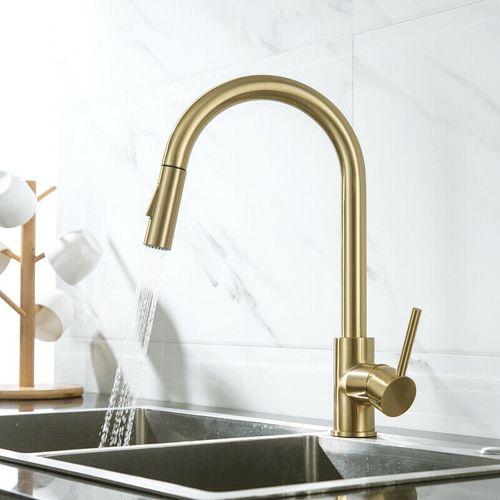 Malvizza keukenkraan met uittrekbare handdouche geborsteld goud