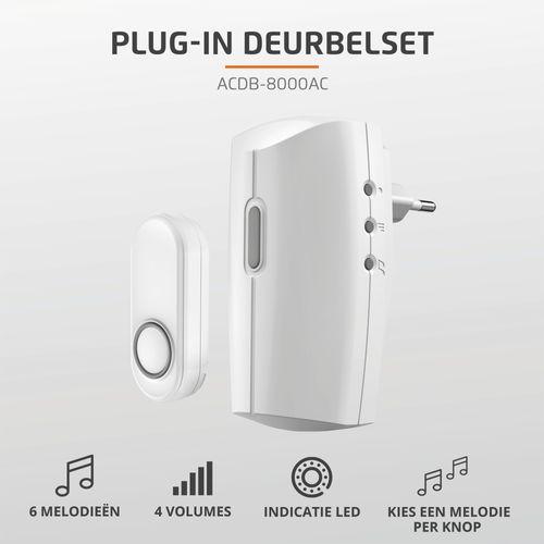 KlikAanKlikUit plug-in draadloze deurbelset 230V ACDB-8000AC