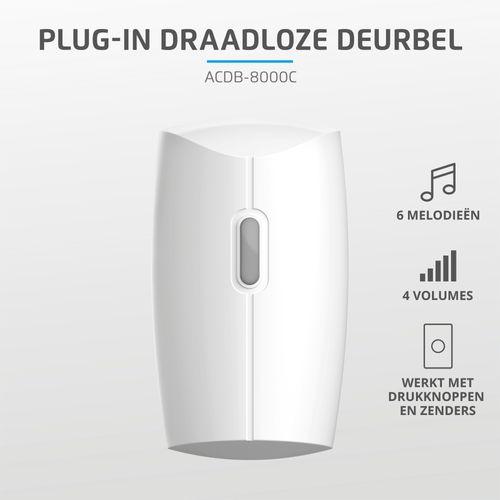 KlikAanKlikUit plug-in draadloze deurbel 230V ACDB-8000C