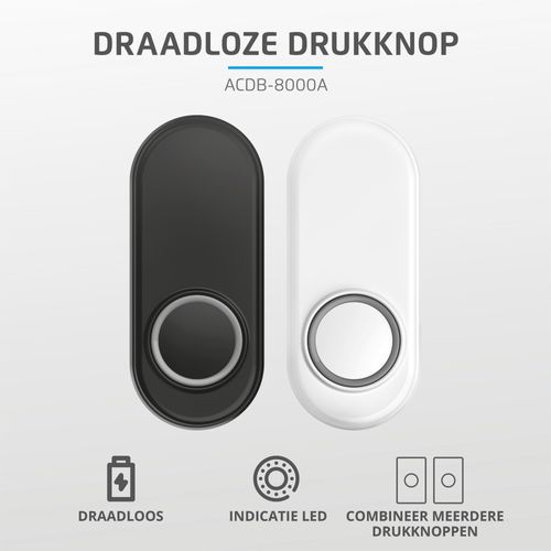 KlikAanKlikUit draadloze deurbeldrukker zwart ACDB-8000AZ