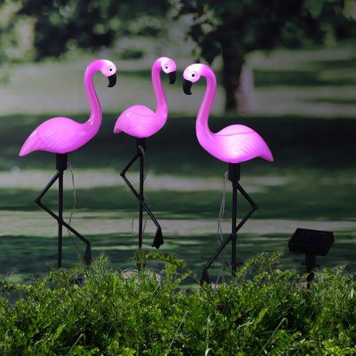 VidaXL zonnepiket flamingo solar LED roze-koud wit 3stuks