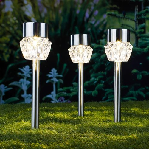 VidaXL padverlichting solar LED warm wit 3stuks