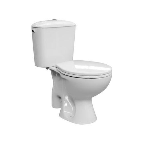 Van Marcke GO duoblok toilet Solution vloeraansluiting met softclose toiletzitting wit