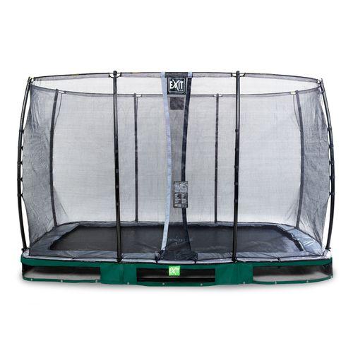 Exit in-ground trampoline Elegant met veiligheidsnet Economy 244x427cm groen