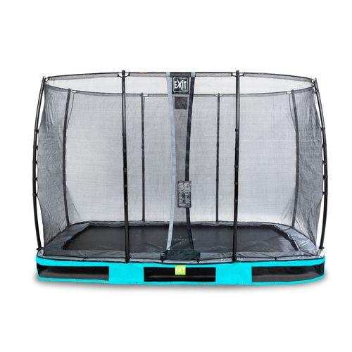 Trampoline enterré Exit Elegant 214x366cm avec filet de sécurité Economy bleu
