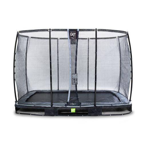 Trampoline enterré Exit Elegant Premium 214x366cm avec filet de sécurité Deluxe noir