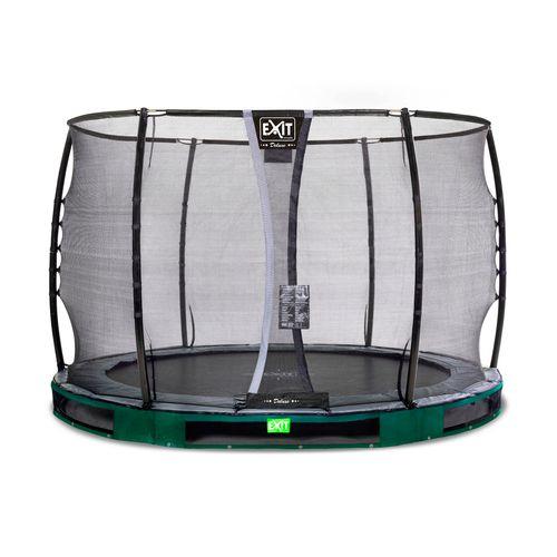 Trampoline enterré Exit Elegant Premium ø305cm avec filet de sécurité Deluxe vert